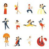 Dance Icon Flat. Social dancing festival elegant waltz tango oriental dance icon flat set isolated vector illustration Stock Image