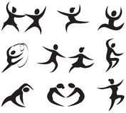 Dance icons. Isolated dance icons in black colors Royalty Free Stock Image