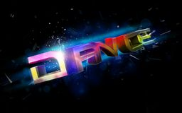 Dance illustration. 3d rendered illustration of colorful letters on a black background Stock Photos