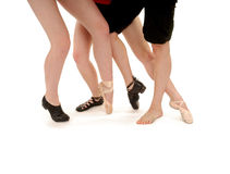 Dance Legs And Styles. Legs of Dancers with various shoes ranging from tap to irish and including slippers and soled shoes Royalty Free Stock Images