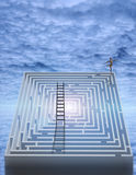 Dance of Life. High Resolution 3D Illustration Dancer and maze with ladder stock illustration