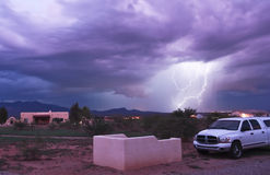 A Dance of Lightning in the Foothills. Lightning strikes the Mule Mountain foothills near Palominas, Arizona, during a monsoon thunderstorm common in the summer Royalty Free Stock Images