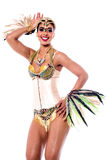Dance like me girls !. Image of a woman samba dancer posing over white Stock Photos