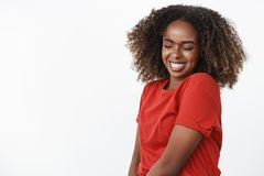 Dance like no one watching. Portrait of carefree and silly happy beautiful and sincere afrian-american young woman royalty free stock photo