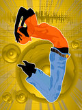 Dance like noone is watching. Dancing girl silhouette, abstract dance layout Stock Image