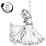 Dance line belly dance. Vector illustration of young girl dancing belly dance on white background. Dance Icon. Design for flyers, magazines and commercial stock illustration