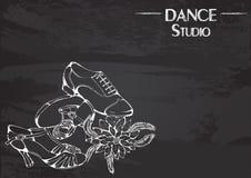Dance line chalk ballroom latina shoes Royalty Free Stock Image