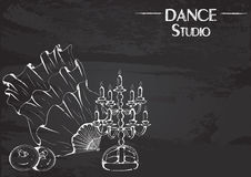 Dance line chalk belly dance accessories. Monochrome vector illustration of belly dance accessories on abstract grunge background. Design for flyers, magazines Royalty Free Stock Photography
