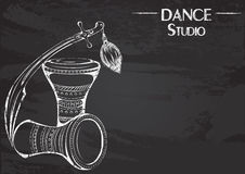 Dance line chalk tribal accessories. Monochrome vector illustration of tribal accessories on abstract grunge background. Design for flyers, magazines and Royalty Free Stock Photography