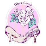 Dance line color ballroom standard shoes Royalty Free Stock Images