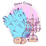 Dance line color belly dance accessories. Color vector illustration of belly dance accessories on color background. Dance Icon. Design for flyers, magazines and Stock Photos