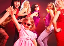 Dance little girls  on the party Stock Images