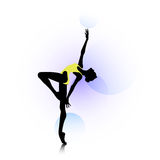 Dance logo. Female silhouette dancing on abstract circles background Royalty Free Stock Photo