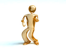 Dance man. Gold glass dance man on wite background Stock Images