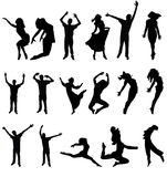 Dance many people silhouette. vector illustration Royalty Free Stock Image