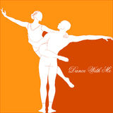 Dance with me. Silhouette of a dancing couple in orange tones Stock Photos