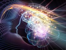 Dance of the Mind. Human Mind series. Composition of brain, human outlines and fractal elements on the subject of technology, science, education and human mind Royalty Free Stock Photography