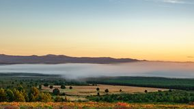 The dance of the mist at dawn. The dance of the mist in the early morning at dawn stock video footage