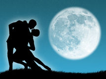 Dance in the moon stock illustration