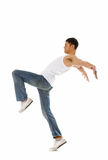 Dance move. Breakdancer does expressive move and bends backwards isolated on white Stock Photos