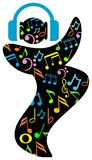 Dance with music. Isolated line art cartoon image vector illustration
