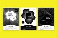 Dance music festival posters with abstract geometric smooth line. Invitation templates for night club party with dynamic. Invitation templates for night club Stock Images