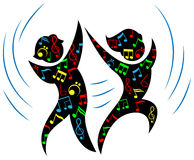 Dance with music. Isolated line art cartoon image