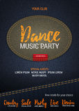 Dance Music Party flyer or banner with denim background.. Dance Music Party flyer or banner with denim background. Vector template with denim label. Caption Stock Photo