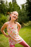 Dance is my joy. Active childhood - happy child dancing outdoor in backyard Royalty Free Stock Image