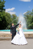 A dance of the newly married couple outdoors Royalty Free Stock Images