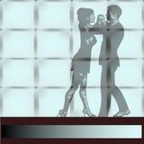 Dance o estúdio, uma dança de Ballrom dos pares vista através de uma grande parede Fotografia de Stock Royalty Free