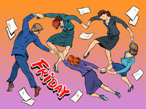 Dance in the office Friday holiday joy business Royalty Free Stock Photos
