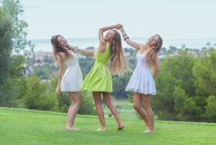 Dance outdoors healthy girls in summer Royalty Free Stock Photos