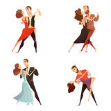 Dance Pair Retro Cartoon Set Royalty Free Stock Images