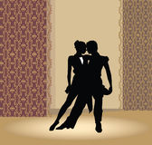 Dance pair in tango passion. Spain dance. Dansers in palace Stock Photography
