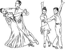 Dance pairs. Hand drawing sketch Royalty Free Stock Photography