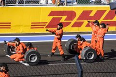 Dance participating in the opening of the first Grand Prix of Ru. Sochi, Russia -12 November 2014 : Formula One, Russian Grand Prix,  Sochi autodrom , 16 stage Stock Images