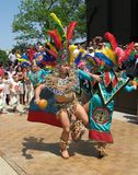 Dance Partners. Photo of Aztec dancers performing at the Cinco De Mayo festival in Washington D.C. on May 4, 2008.  Cinco De Mayo Celebrates Mexico's victory Royalty Free Stock Photography
