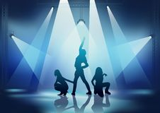 Dance Party. Showgirls and background illustration Royalty Free Stock Photos