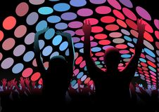Dance Party. Crowd and Stage Lightning, Background illustration, Vector Stock Photo