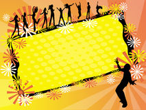Dance party. On orange background Royalty Free Stock Photography