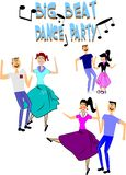 Dance party. Big beat dance party from fifties over white stock illustration