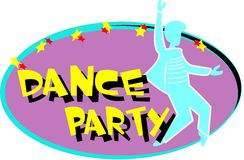 Dance party. Concept from fifties over white royalty free illustration