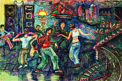 Dance party. Rave dance party. Color pen drawing. Illustration Stock Images