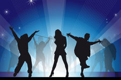Dance party. Sexy dancers-silhouettes-dance party Stock Photography