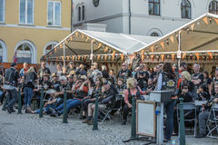 Dance, party and appearance at Halden squares Stock Photos