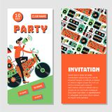 Dance party bilateral invitation for nightclub with vinyl record. Electronic music festival. Electronic music party. Dance festival invitation for nightclub Royalty Free Stock Images