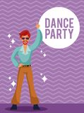 Dance party card. Man dance party cartoon over striped background vector illustration graphic design Stock Photography