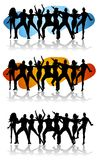 Dance Party Celebration Silhouettes. An illustration featuring your choice of 3 dance party silhouette images in blue, gold red and plain with shadows Stock Images