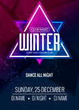 Dance party, dj battle poster design. Winter disco party. Music event flyer or banner illustration template Royalty Free Stock Photos